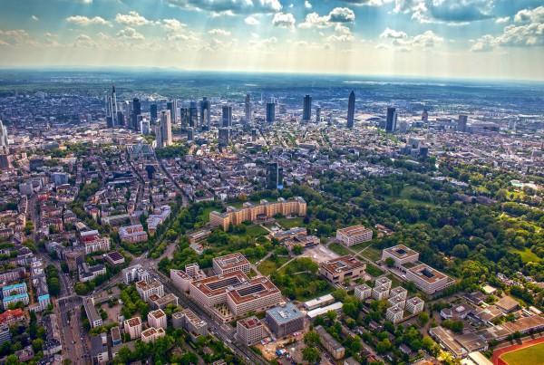 Skyline Frankfurt Luftaufnahme